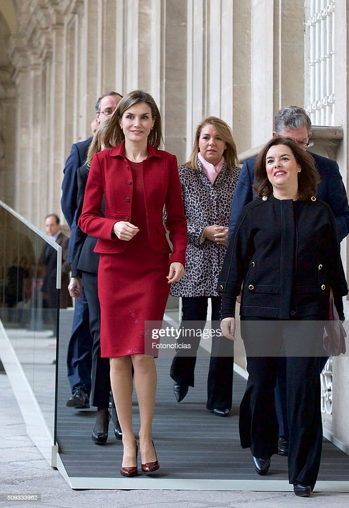 Queen <a gi-track='captionPersonalityLinkClicked' href=/galleries/search?phrase=Letizia+of+Spain&family=editorial&specificpeople=158373 ng-click='$event.stopPropagation()'>Letizia of Spain</a> and Spanish Vice President <a gi-track='captionPersonalityLinkClicked' href=/galleries/search?phrase=Soraya+Saenz+de+Santamaria&family=editorial&specificpeople=5131705 ng-click='$event.stopPropagation()'>Soraya Saenz de Santamaria</a> visit the Royal Palace on February 10, 2016 in Madrid, Spain