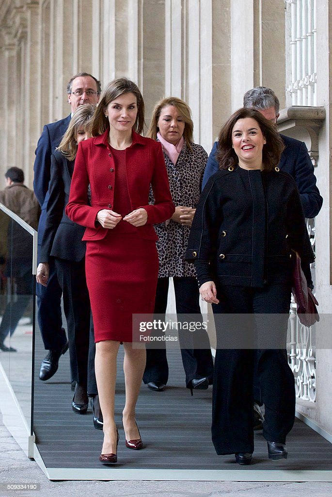 Queen Letizia of Spain and Spanish Vice President <a gi-track='captionPersonalityLinkClicked' href=/galleries/search?phrase=Soraya+Saenz+de+Santamaria&family=editorial&specificpeople=5131705 ng-click='$event.stopPropagation()'>Soraya Saenz de Santamaria</a> visit the Royal Palace on February 10, 2016 in Madrid, Spain
