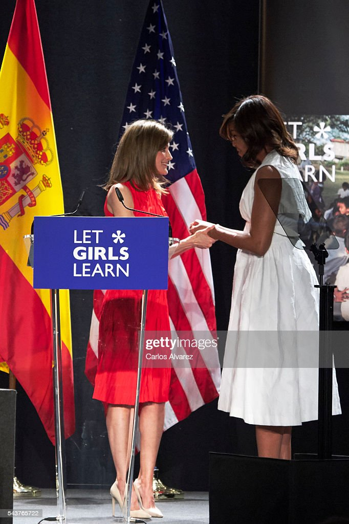 Queen <a gi-track='captionPersonalityLinkClicked' href=/galleries/search?phrase=Letizia+of+Spain&family=editorial&specificpeople=158373 ng-click='$event.stopPropagation()'>Letizia of Spain</a> and US First Lady <a gi-track='captionPersonalityLinkClicked' href=/galleries/search?phrase=Michelle+Obama&family=editorial&specificpeople=2528864 ng-click='$event.stopPropagation()'>Michelle Obama</a> attend the presentation of 'Let Girls Learn' by US First Lady <a gi-track='captionPersonalityLinkClicked' href=/galleries/search?phrase=Michelle+Obama&family=editorial&specificpeople=2528864 ng-click='$event.stopPropagation()'>Michelle Obama</a> at Matadero cultural center on on June 30, 2016 in Madrid, Spain. In this initiative <a gi-track='captionPersonalityLinkClicked' href=/galleries/search?phrase=Michelle+Obama&family=editorial&specificpeople=2528864 ng-click='$event.stopPropagation()'>Michelle Obama</a> shares the stories of girls she has met in her prior travels and highlights new commitments to support 'Let Girls Learn'. Mrs. Obama encourage the audience to value their own educational opportunities, continue to strive for progress for girls and young women in their country, and take action to help the more than 62 million girls around the world who are out of school.
