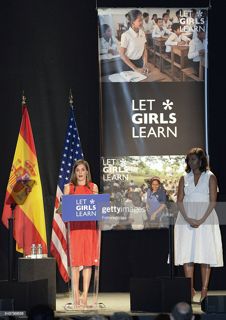 Queen Letizia of Spain and US First Lady Michelle Obama attend the 'Let Girls Learn' conference at Matadero de Madrid on June 30, 2016 in Madrid, Spain.