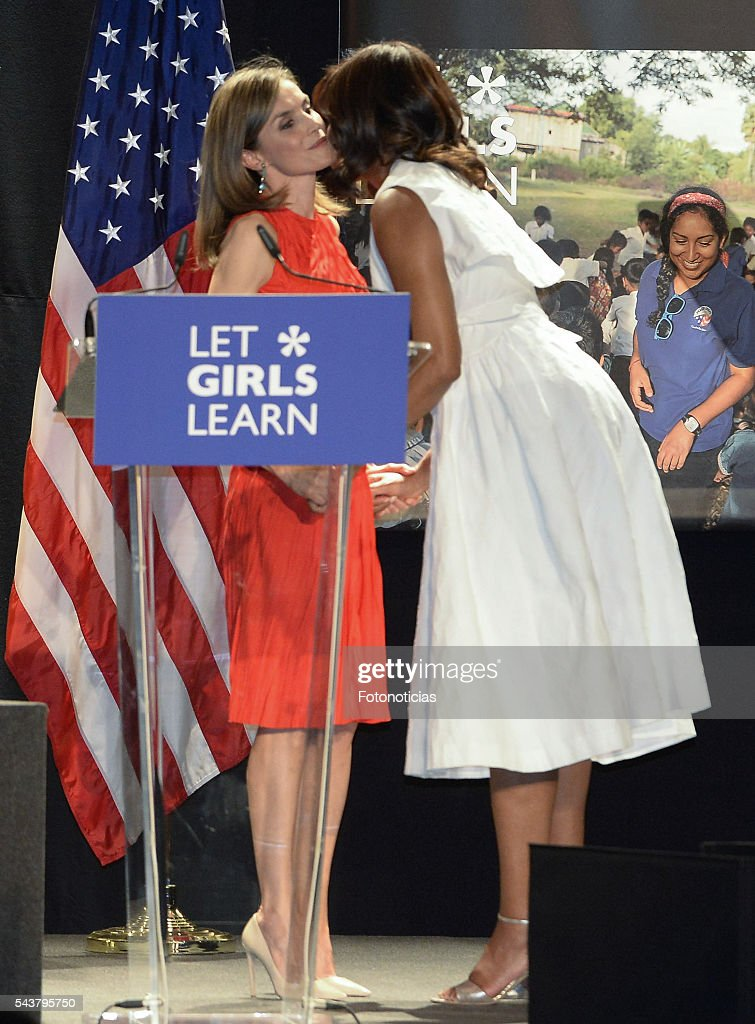 Queen <a gi-track='captionPersonalityLinkClicked' href=/galleries/search?phrase=Letizia+of+Spain&family=editorial&specificpeople=158373 ng-click='$event.stopPropagation()'>Letizia of Spain</a> and US First Lady <a gi-track='captionPersonalityLinkClicked' href=/galleries/search?phrase=Michelle+Obama&family=editorial&specificpeople=2528864 ng-click='$event.stopPropagation()'>Michelle Obama</a> attend the 'Let Girls Learn' conference at Matadero de Madrid on June 30, 2016 in Madrid, Spain.