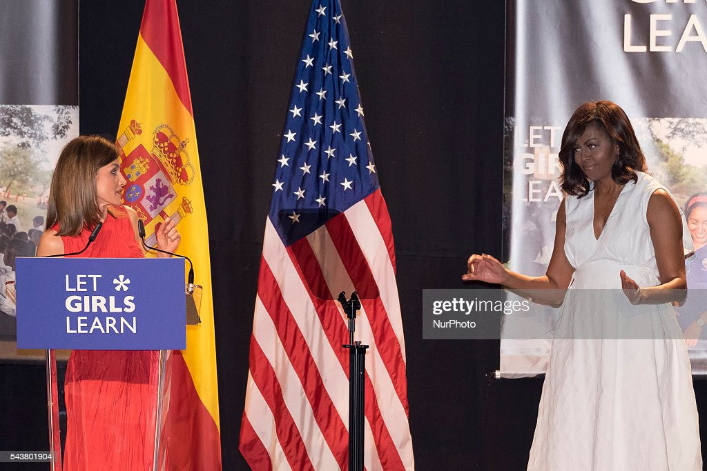 Queen <a gi-track='captionPersonalityLinkClicked' href=/galleries/search?phrase=Letizia+of+Spain&family=editorial&specificpeople=158373 ng-click='$event.stopPropagation()'>Letizia of Spain</a> and US First Lady <a gi-track='captionPersonalityLinkClicked' href=/galleries/search?phrase=Michelle+Obama&family=editorial&specificpeople=2528864 ng-click='$event.stopPropagation()'>Michelle Obama</a> attend the presentation of 'Let Girls Learn' by US First Lady <a gi-track='captionPersonalityLinkClicked' href=/galleries/search?phrase=Michelle+Obama&family=editorial&specificpeople=2528864 ng-click='$event.stopPropagation()'>Michelle Obama</a> at Matadero cultural center on on June 30, 2016 in Madrid, Spain Photo: Oscar Gonzalez/NurPhoto