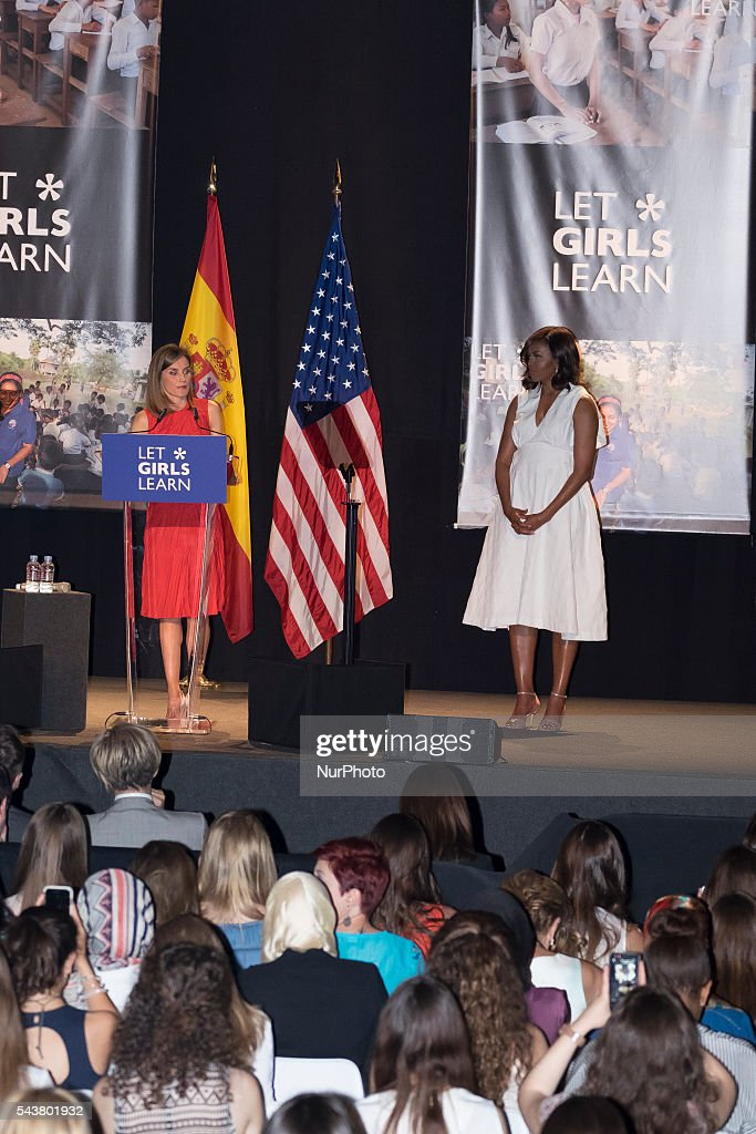 Queen Letizia of Spain and US First Lady Michelle Obama attend the presentation of 'Let Girls Learn' by US First Lady Michelle Obama at Matadero cultural center on on June 30, 2016 in Madrid, Spain Photo: Oscar Gonzalez/NurPhoto