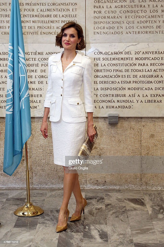 Queen <a gi-track='captionPersonalityLinkClicked' href=/galleries/search?phrase=Letizia+of+Spain&family=editorial&specificpeople=158373 ng-click='$event.stopPropagation()'>Letizia of Spain</a> arrives at the FAO Headquarters as she is named FAO Special Ambassador for Nutrition on June 12, 2015 in Rome, Italy.
