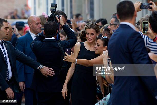 Queen Letizia of Spain arrives at the Malaga Picasso Museum on September 5 2014 in Malaga Spain