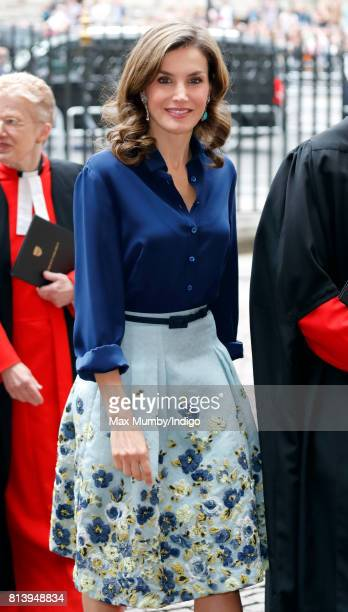 Queen Letizia of Spain arrives at Westminster Abbey to lay a wreath at the Grave of the Unknown Warrior during day 2 of the Spanish State Visit to...