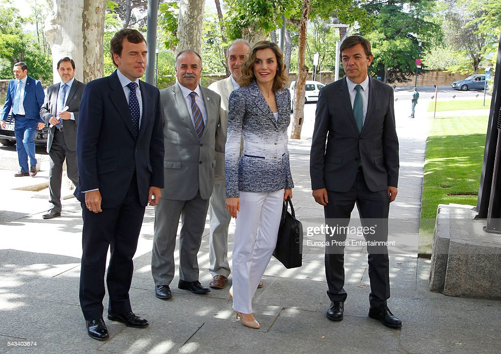 Queen <a gi-track='captionPersonalityLinkClicked' href=/galleries/search?phrase=Letizia+of+Spain&family=editorial&specificpeople=158373 ng-click='$event.stopPropagation()'>Letizia of Spain</a> arrives to attend the course 'Hambre Cero:Es Posible' on June 28, 2016 in Madrid, Spain.