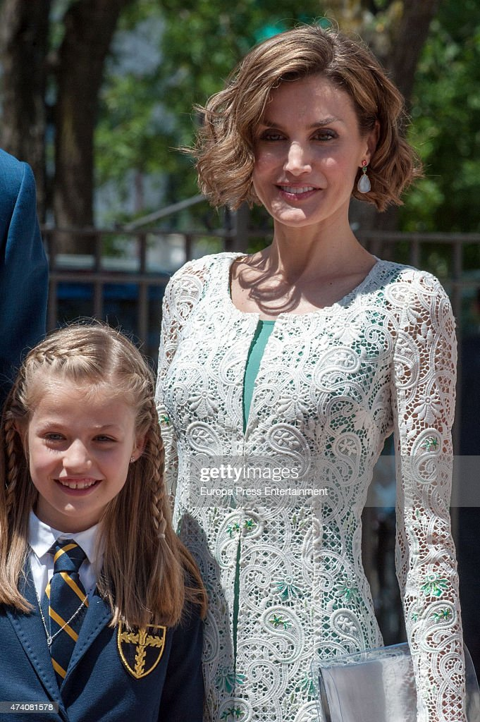 Queen Letizia of Spain attend the First Communion of Princess Leonor of Spain on May 20, 2015 in Madrid, Spain.