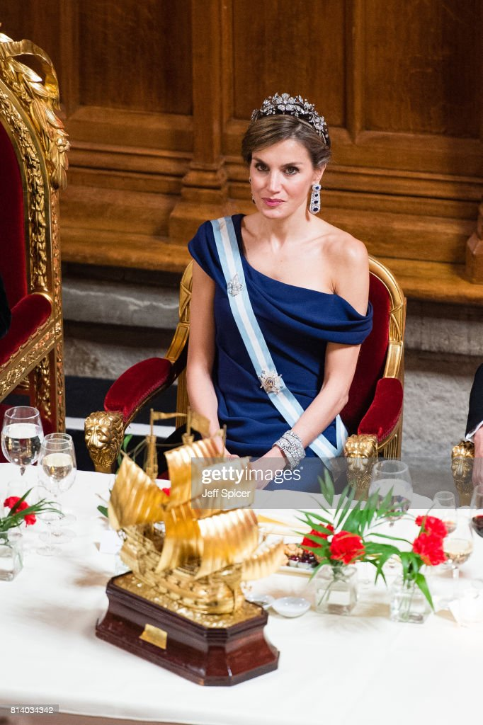 Queen Letizia of Spain attends a banquet at the Guildhall during a State visit by the King and Queen of Spain on July 13, 2017 in London, England. This is the first state visit by the current King Felipe and Queen Letizia, the last being in 1986 with King Juan Carlos and Queen Sofia.
