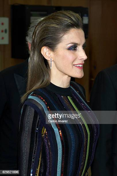 Queen Letizia of Spain attends a dinner in honour of 'Mariano de Cavia' 'Mingote' and 'Luca de Tena' awards winners at ABC on December 13 2016 in...