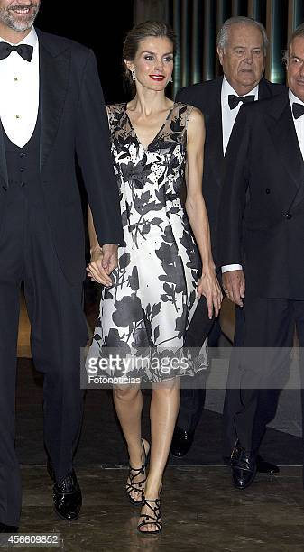 Queen Letizia of Spain attends a dinner in honour of the 'Mariano de Cavia' 'Luca de Tena' and 'Mingote' awards winners at Casa de ABC on October 3...