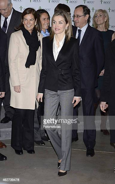 Queen Letizia of Spain attends a forum against cancer at the Telefonica bulding on February 4 2015 in Madrid Spain