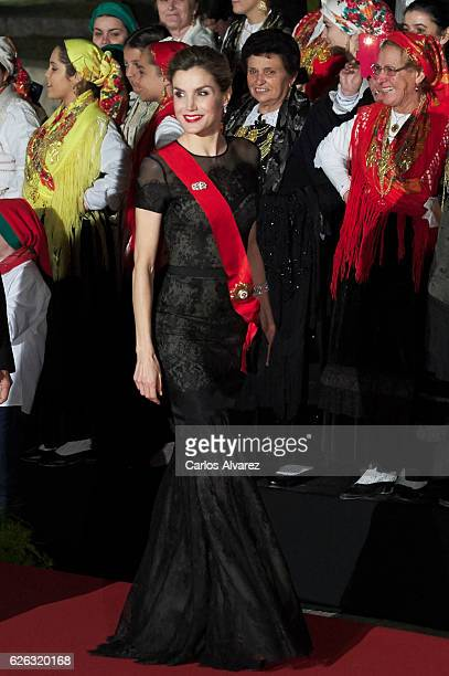 Queen Letizia of Spain attends a Gala Dinner at the Dukes of Braganza Palace during her official visit to Portugal on November 28 in Guimaraes...