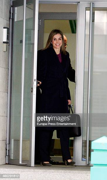 Queen Letizia of Spain attends a meeting at the AECC on December 10 2014 in Madrid Spain
