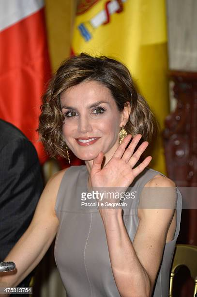 Queen letizia of Spain attends a meeting at the Library of the Cervantes institute on June 4 2015 in Paris France