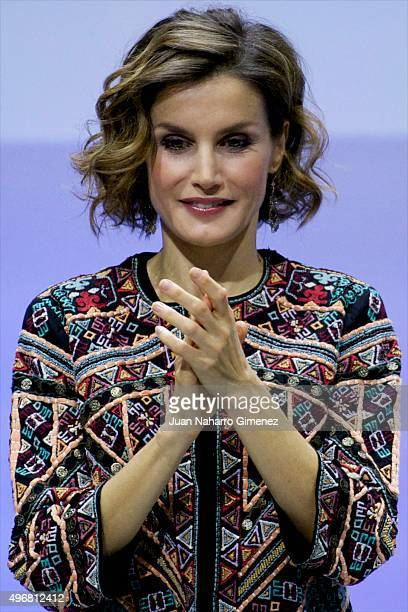 Queen Letizia of Spain attends a meeting with ambassadors of the Spanish Brand at Auditorio Ciudad BBVA on November 12 2015 in Madrid Spain