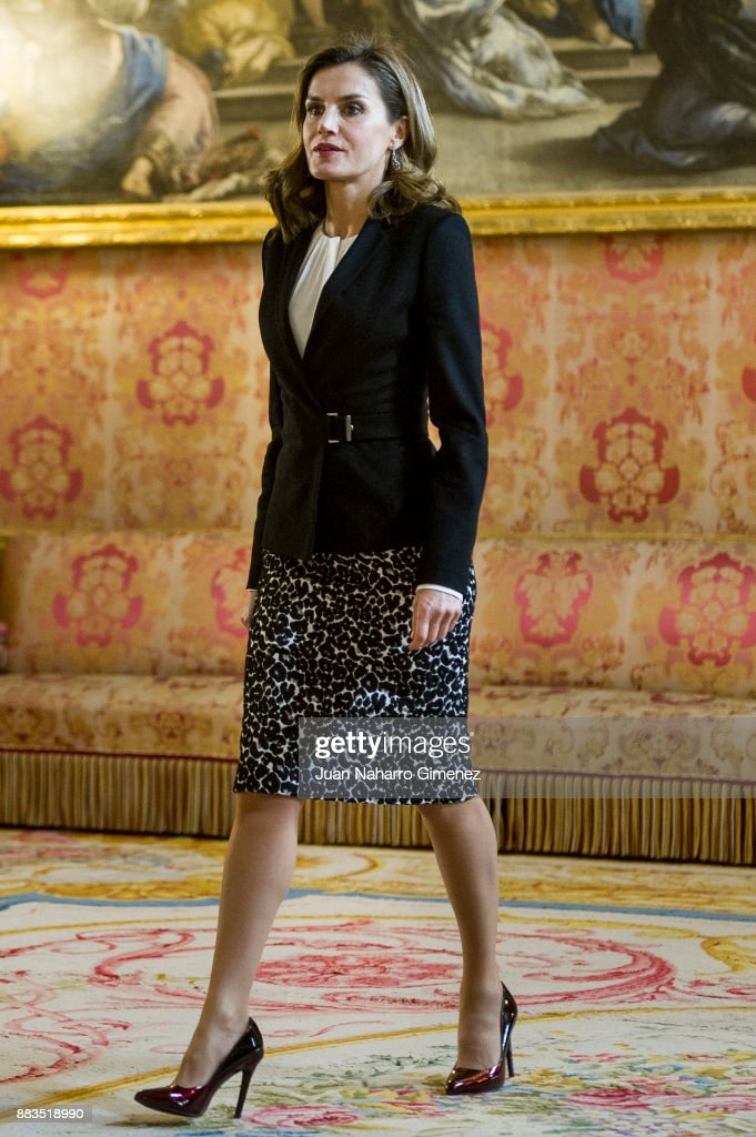 Queen Letizia of Spain attends a meeting with 'Princesa de Girona' Foundation members at the Royal Palace on December 1, 2017 in Madrid, Spain.
