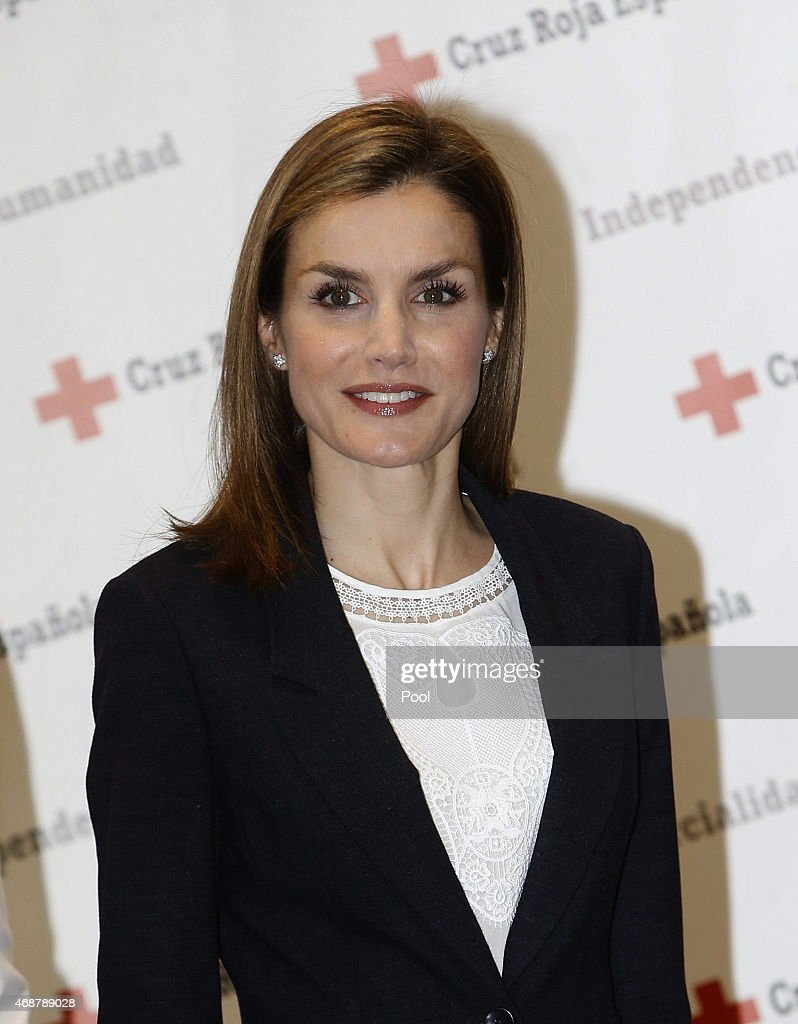 Queen Letizia of Spain attends a meeting with the Spanish Red Cross on April 7 2015 in Madrid Spain