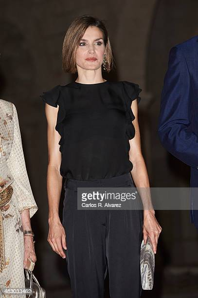 Queen Letizia of Spain attends a official reception at the Almudaina Palace on August 5 2015 in Palma de Mallorca Spain