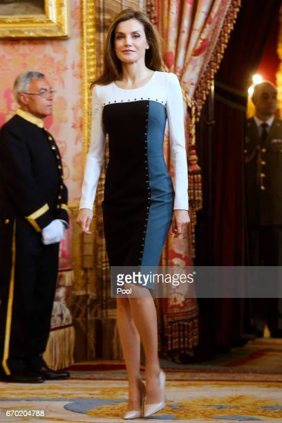 Queen Letizia of Spain attends an official lunch for 'Miguel de Cervantes 2016' Literature award at the Royal Palace on April 19 2017 in Madrid Spain