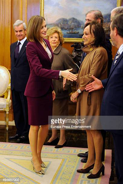 Queen Letizia of Spain attends audiences at Zarzuela Palace on October 27 2015 in Madrid Spain