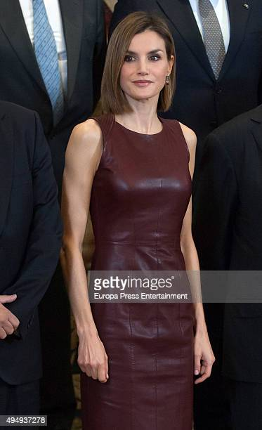 Queen Letizia of Spain attends audiences at Zarzuela Palace on October 30 2015 in Madrid Spain