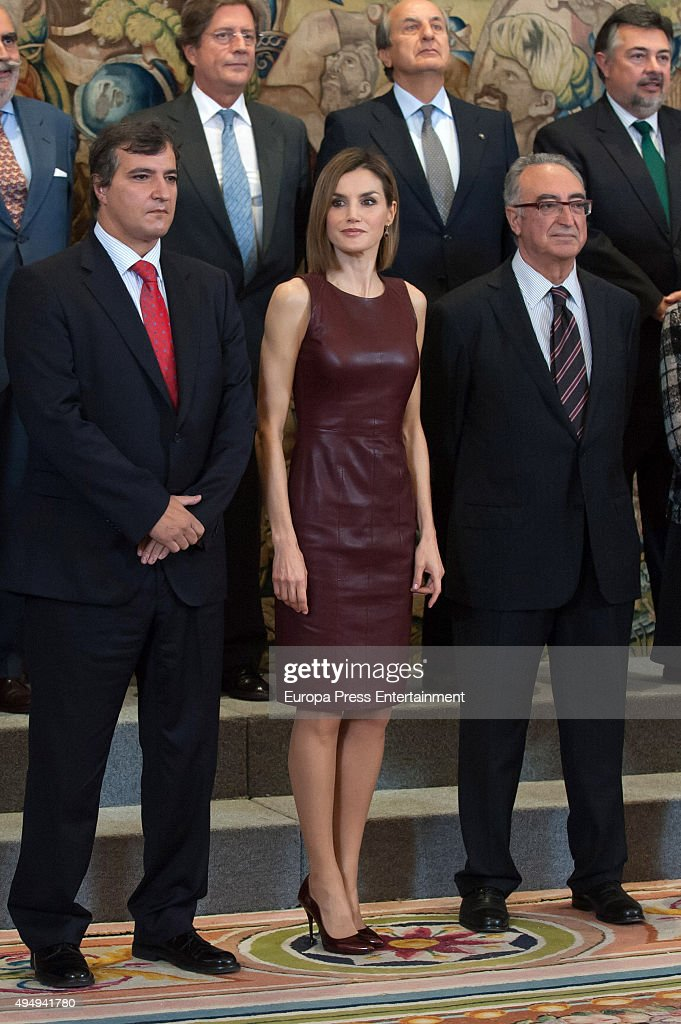 Queen Letizia of Spain attends audiences at Zarzuela Palace on October 30, 2015 in Madrid, Spain.