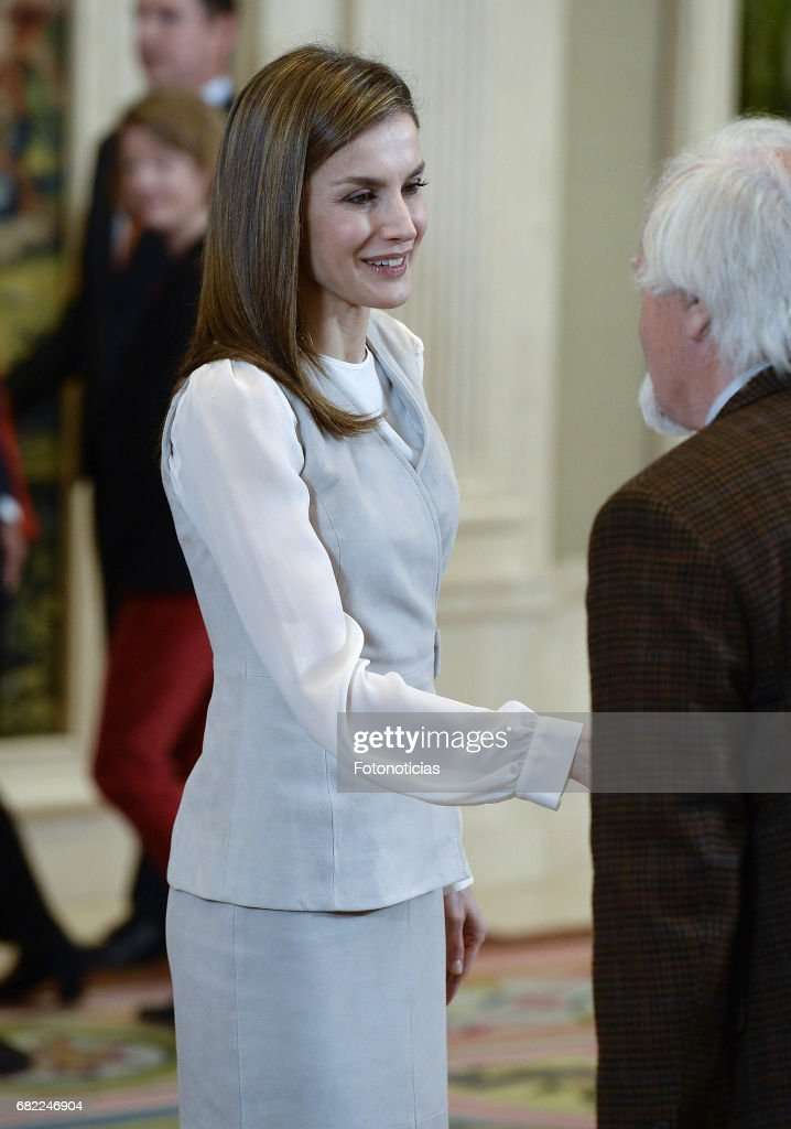 Queen Letizia of Spain attends Audiences at Zarzuela Palace on May 12, 2017 in Madrid, Spain.
