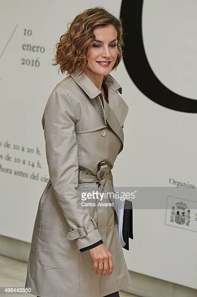 Queen Letizia of Spain attends 'Cooperacion Espanola 2030 Espana y la nueva agenda de desarrollo sostenible' seminar at the National Library on...