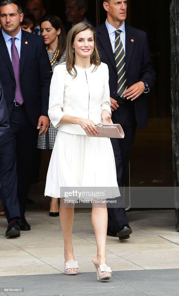 Queen Letizia of Spain attends 'El Arte de Educar' at El Prado Museum on June 19, 2017 in Madrid, Spain.