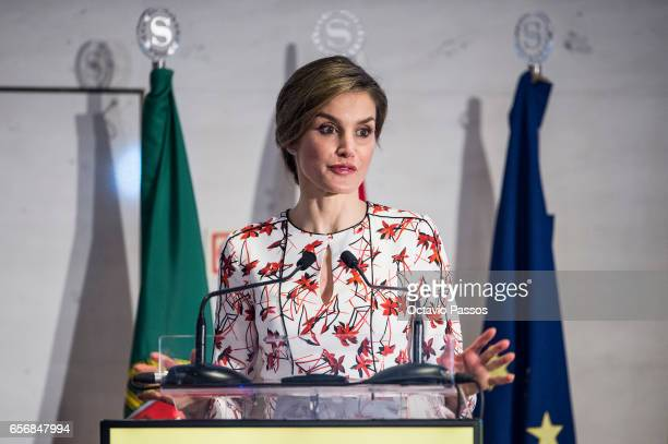 Queen Letizia of Spain attends European Conference 'Tabajo O Salud' against Cancer at Sheraton Porto Hotel on March 23 2017 in Porto Portugal