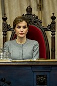 Queen Letizia of Spain attends investiture of honorary doctors by Salamanca's University at Paraninfo of Salamanca's University on April 5 2016 in...