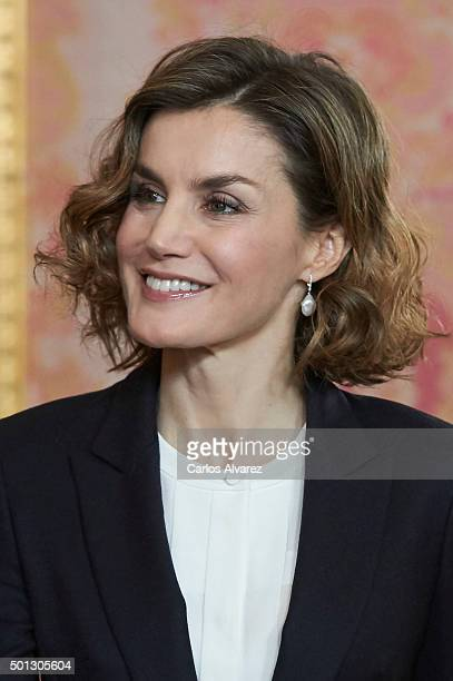 Queen Letizia of Spain attends meeting with Princesa de Girona Foundation at the Royal Palace on December 14 2015 in Madrid Spain