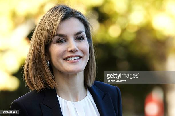 Queen Letizia of Spain attends Nutrigenomics Seminar at the CSIC Institute on November 30 2015 in Madrid Spain