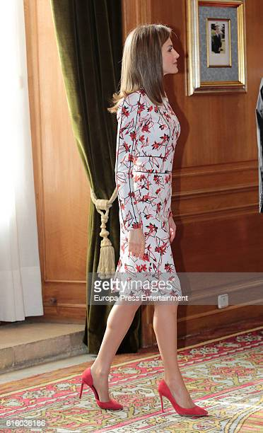 Queen Letizia of Spain attends several audiences at Reconquista hotel during the 'Princess of Asturias 2016 Awards on October 21 2016 in Oviedo Spain