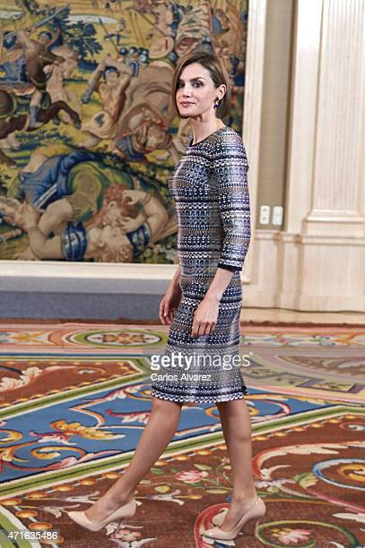 Queen Letizia of Spain attends several audiences at the Zarzuela Palace on April 30 2015 in Madrid Spain