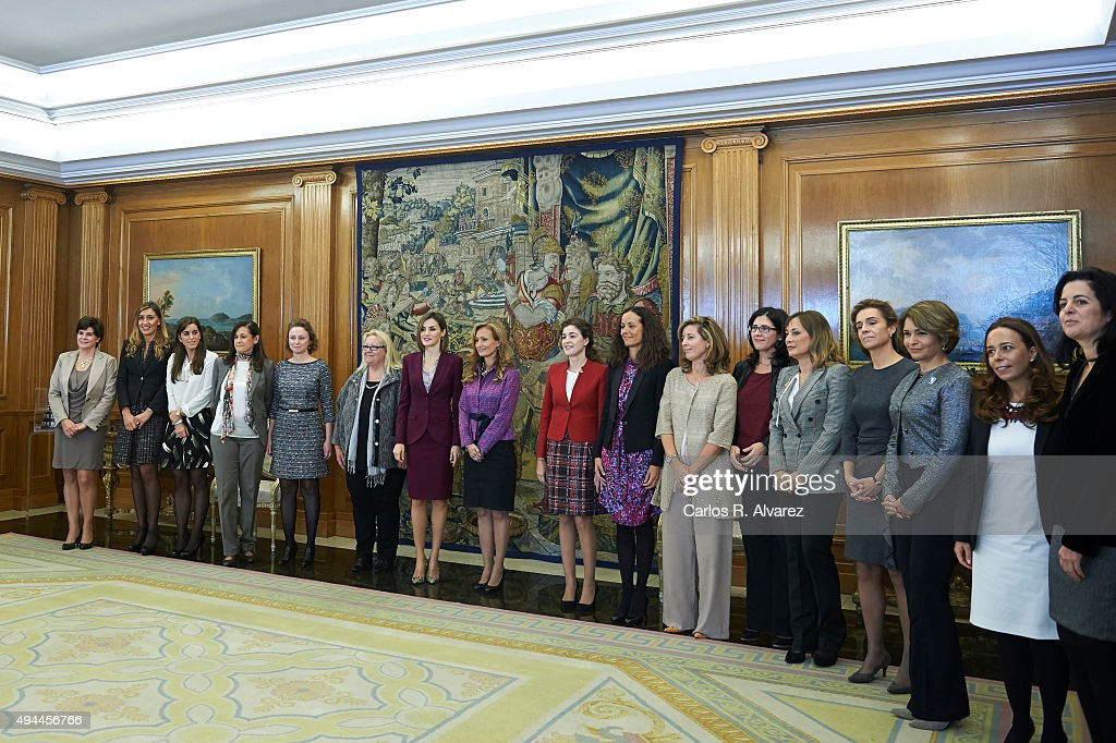 Queen Letizia of Spain (7L) attends several audiences at the Zarzuela Palace on October 27, 2015 in Madrid, Spain.