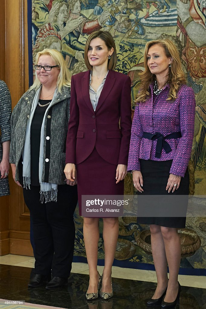 Queen Letizia of Spain (C) attends several audiences at the Zarzuela Palace on October 27, 2015 in Madrid, Spain.