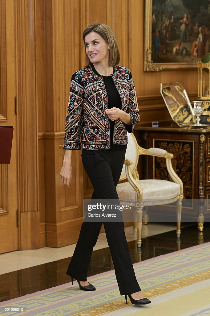 Queen Letizia of Spain attends several audiences at the Zarzuela Palace on December 16 2015 in Madrid Spain