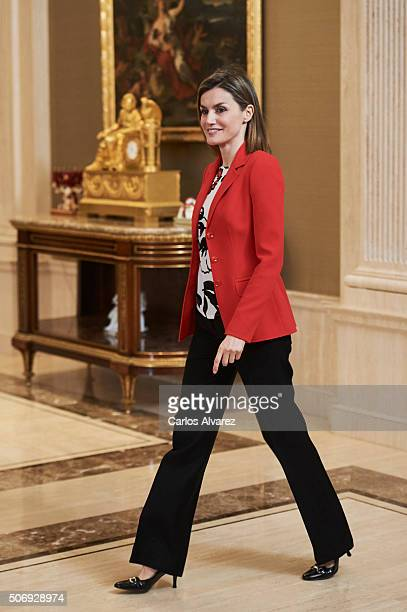 Queen Letizia of Spain attends several audiences at the Zarzuela Palace on January 26 2016 in Madrid Spain