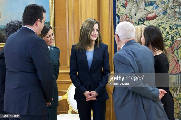 Queen Letizia of Spain attends several audiences at the Zarzuela Palace on March 16 2017 in Madrid Spain