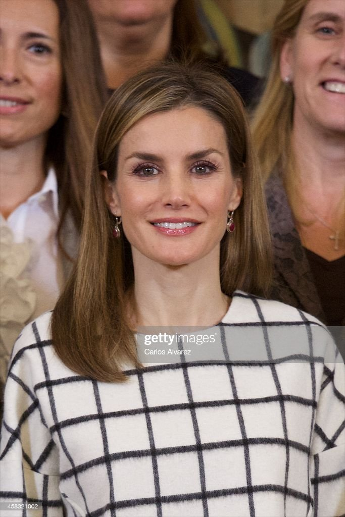 Queen <a gi-track='captionPersonalityLinkClicked' href=/galleries/search?phrase=Letizia+of+Spain&family=editorial&specificpeople=158373 ng-click='$event.stopPropagation()'>Letizia of Spain</a> attends several audiences at Zarzuela Palace on November 3, 2014 in Madrid, Spain.