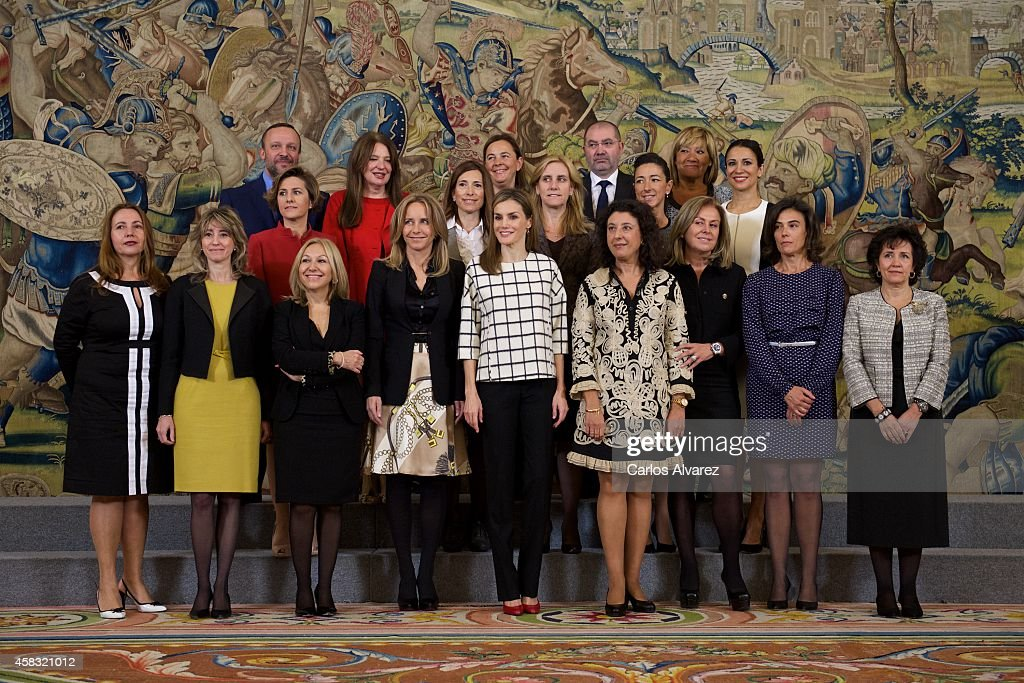 Queen Letizia of Spain (C) attends several audiences at Zarzuela Palace on November 3, 2014 in Madrid, Spain.