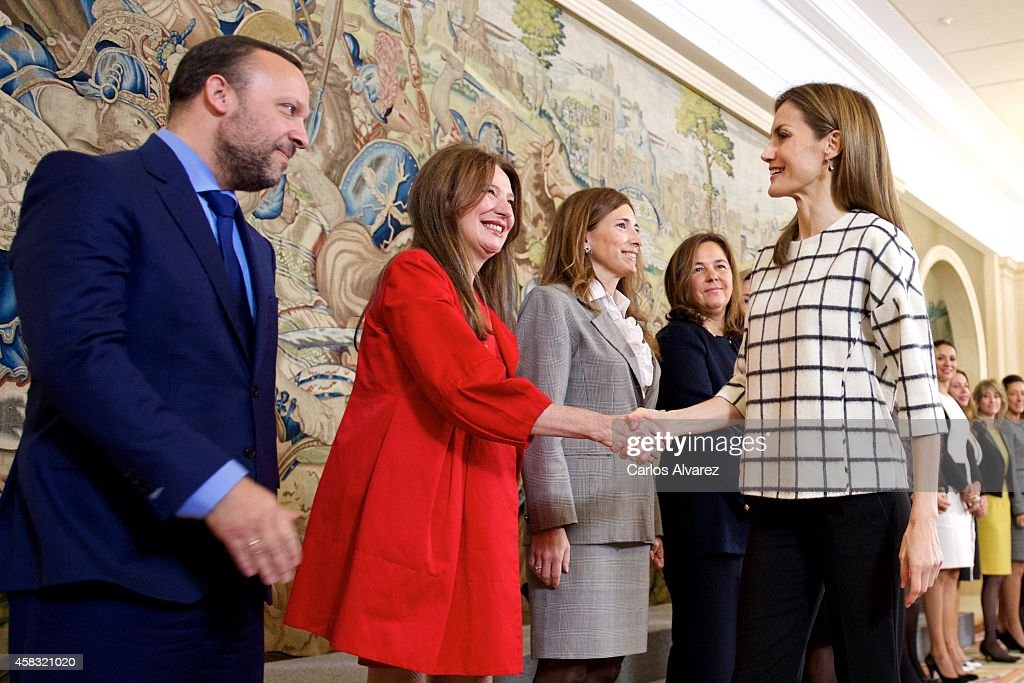 Queen Letizia of Spain (R) attends several audiences at Zarzuela Palace on November 3, 2014 in Madrid, Spain.