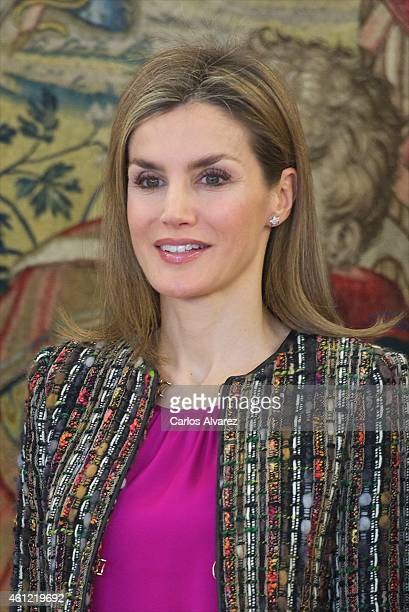 Queen Letizia of Spain attends several audiences at Zarzuela Palace on January 9 2015 in Madrid Spain