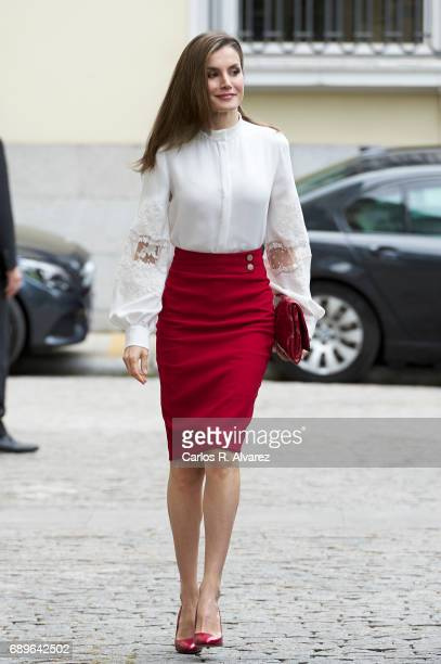Queen Letizia of Spain attends the 10th Anniversary of 'Microfinanzas BBVA' at the BBVA Bank Foundation on May 29 2017 in Madrid Spain