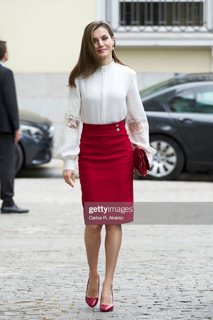 Queen Letizia of Spain attends the 10th Anniversary of 'Microfinanzas BBVA' at the BBVA Bank Foundation on May 29, 2017 in Madrid, Spain.