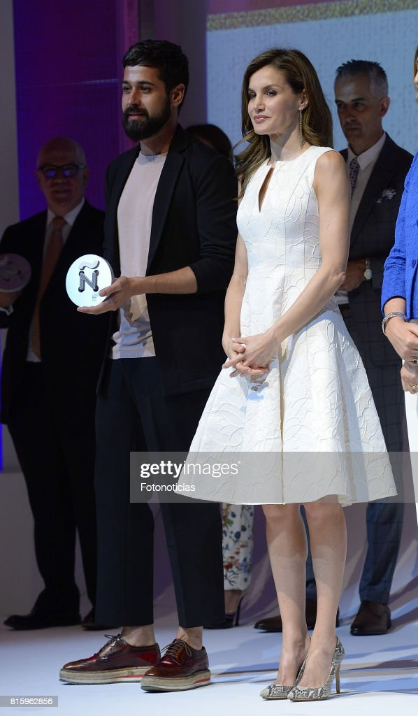 Queen Letizia of Spain (R) attends the 2017 National Fashion Awards at the Museo del Traje on July 17, 2017 in Madrid, Spain.