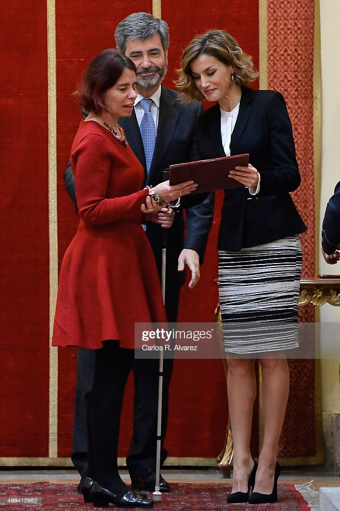 Queen Letizia of Spain (R) attends the 'Foro Justicia y Discapacidad' awards 2015 at the Real Academia de Bellas Artes de San Fernando museum on December 1, 2015 in Madrid, Spain.