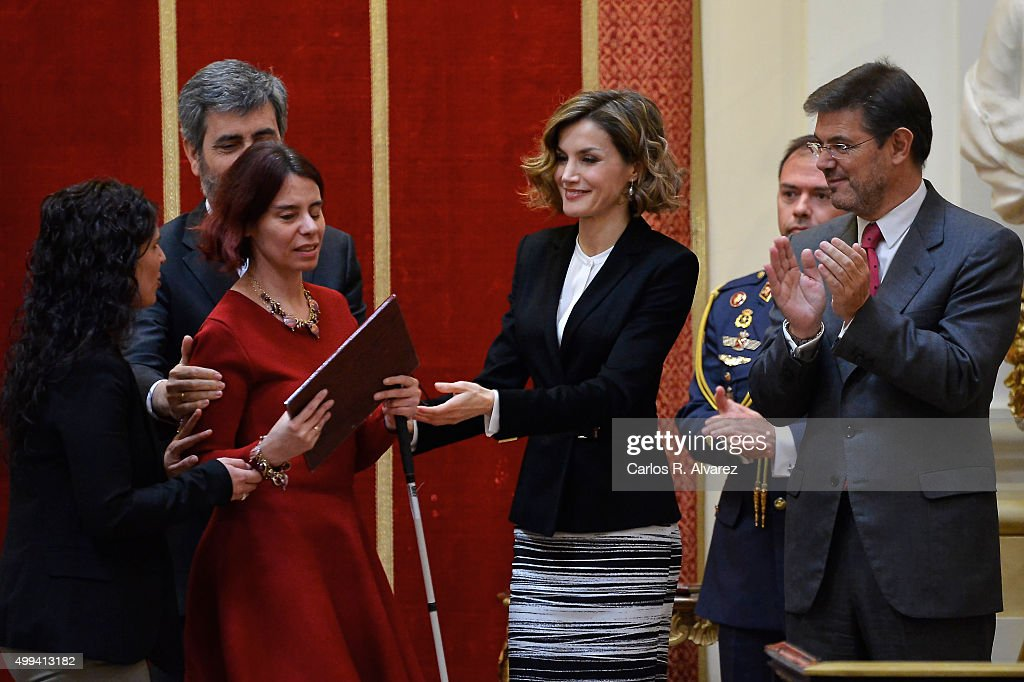 Queen Letizia of Spain (C) attends the 'Foro Justicia y Discapacidad' awards 2015 at the Real Academia de Bellas Artes de San Fernando museum on December 1, 2015 in Madrid, Spain.